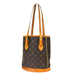 Auth-LOUIS-VUITTON-BUCKET-PM-Shoulder-Bag-Monogram-Leather-Brown-M42238-34MD898