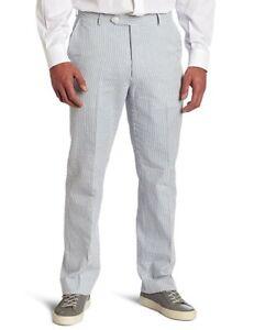 Tommy Hilfiger Trim Fit Blue White Seersucker Flat Front Dress Pants 32//34