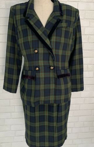 Vtg Green Yellow Plaid Double Breasted Suit 80s B… - image 1