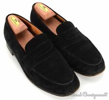 JM WESTON Solid Black Suede Leather Penny Loafer Dress Shoes - UK 8.5 D / US 9