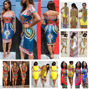 Womens-Traditional-African-Print-Dashiki-Dress-Party-Clubwear-Bodycon-Mini-Dress