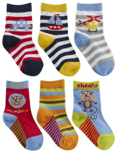 6 Pairs Baby Boys Design Socks Cotton Rich Cute Monkey Bear Printed Stripes