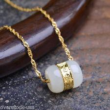 Natural Hetian Jade (Jadeite) 999 Gold Lucky Tube Pendant