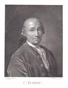 1820-Conrad-Ekhof-Schauspieler-Gotha-Theater-Portrait-Kupferstich-Mueller-Graff