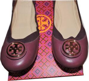 00ec7877169 Image is loading Tory-Burch-Caroline-Elastic-Trim-Ballerina -Burgundy-leather-