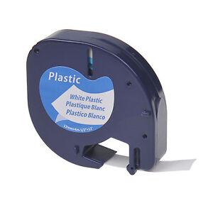 Black-on-White-Plastic-Label-Tape-12mm-for-DYMO-Letra-Tag-LT-91331-Plus-LT100H