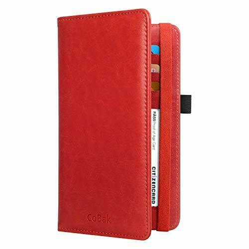 Premium Leather Checkbook Holder Wallet with RFID Blocking for Men and Women,Red