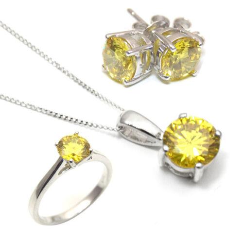 Diamond-único Limón Zafiro 1 Ct Anillo Solitario Plata Maciza