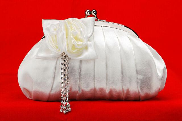 Hochzeit Brauttasche Abendtasche Clutch Damentasche cremeweiß