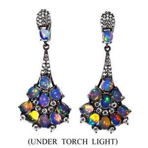 Unheated-Oval-Fire-Opal-Rainbow-Full-Flash-5x4mm-Cz-925-Sterling-Silver-Earrings