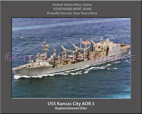 USS Kansas City AOR 3 Personalized Canvas Ship Photo 2 Print Navy Veteran Gift