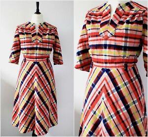 Vintage-1970s-Midi-Dress-RETRO-Rockabilly-Chevron-Boho-Chic-Kitsch-MOD-Dress-M