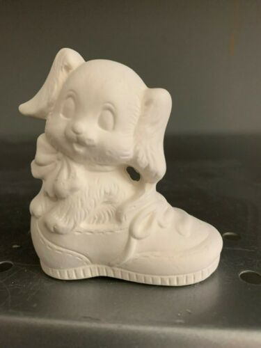 DOg /& Cat in Shoe  *Ceramic Bisque Ready to Paint