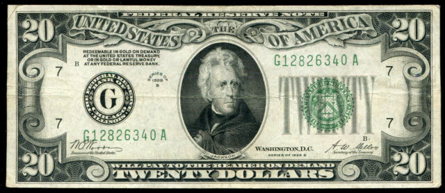 """1928-B $20 FRN FEDERAL RESERVE NOTE """"GOLD ON DEMAND"""" CHICAGO, IL (A)"""