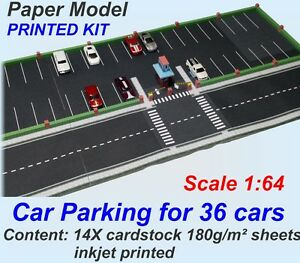 Inkjet printed on cardstock 1:64 Paper Model Set - Car Parking for 36 HW cars