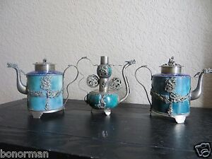 MUSEUM-QUALITY-Lot-of-3-Jade-ANTIQUE-TIBETAN-TEAPOTS-Cloisonne-Silver-plated