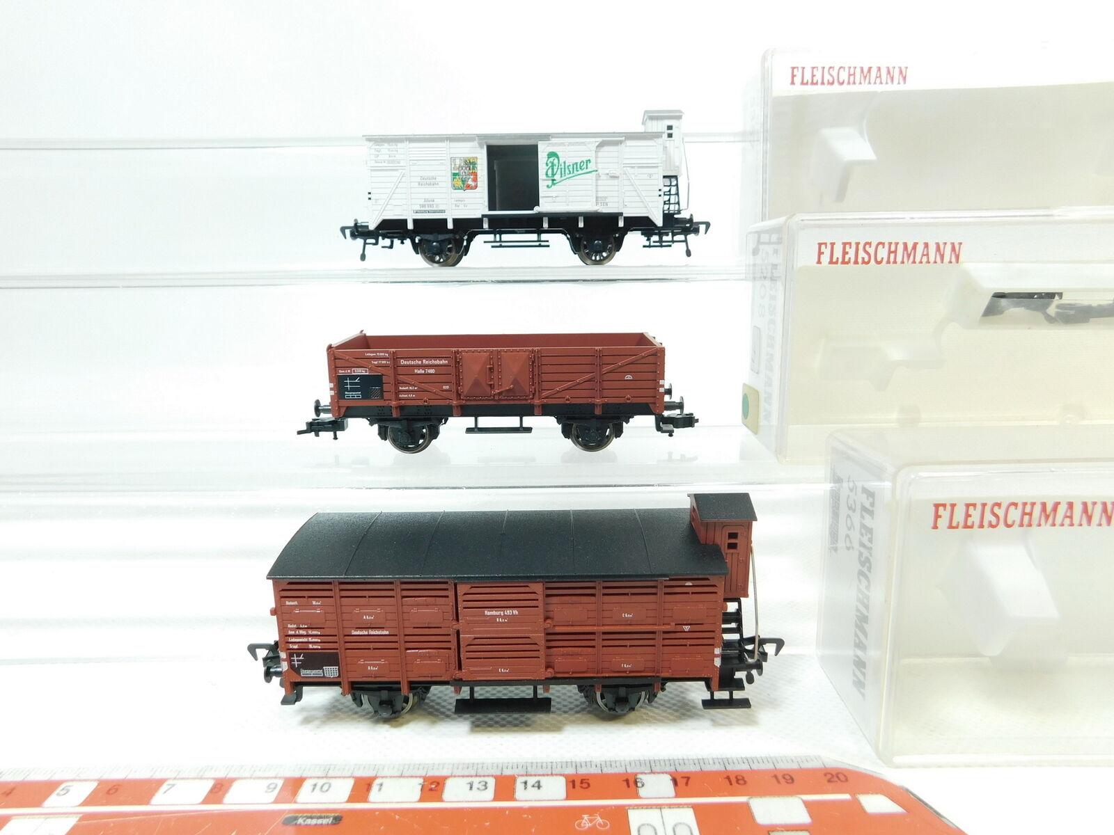 Bj116-0,5   3 x FLEISCHMANN H0/DC Carro Merci DRG : 5208+5357 PILSNER