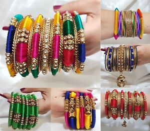 Indian-Bangles-Jewellery-Silk-Thread-Wrapped-Designer-Bangle-Set-Gold-Plated-New