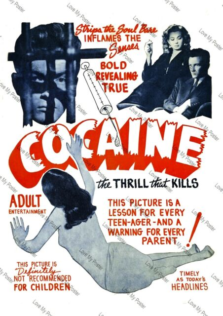 Cocaine Vintage 1930s Classic Adult Movie Film Poster A4 A5 Art Print Decoration
