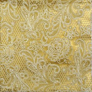 Image Is Loading 4x Paper Napkins Lace Royal Gold Embossed For