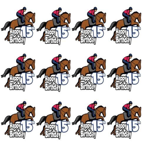 15th Birthday Horse Riding Cupcake Toppers Decorations Girls Daughter Teenager