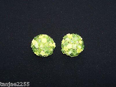 Luminosa 50er Anni Orecchini Clip Vintage Colore Verde Chiaro/verde Bigiotteria Di Vetro (94)-mostra Il Titolo Originale Sentirsi A Proprio Agio