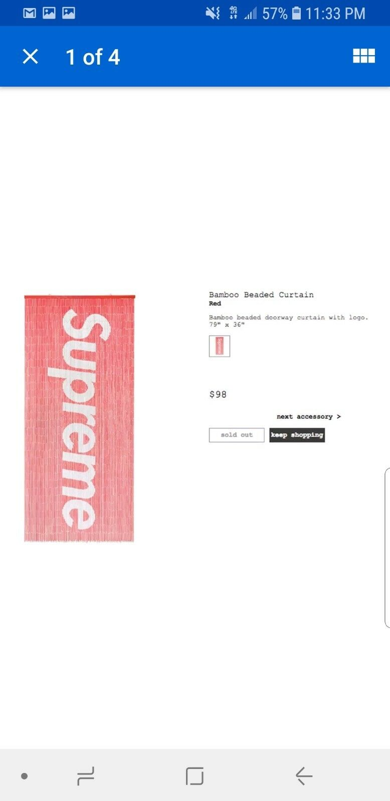 SUPREME BAMBOO BEADED CURTAIN RED SS17 BOX LOGO For Sale Online