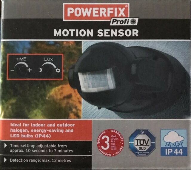 POWERFIX - Compact Round PIR Motion Sensor Home   Garden Security (Black) 1b35aacac365