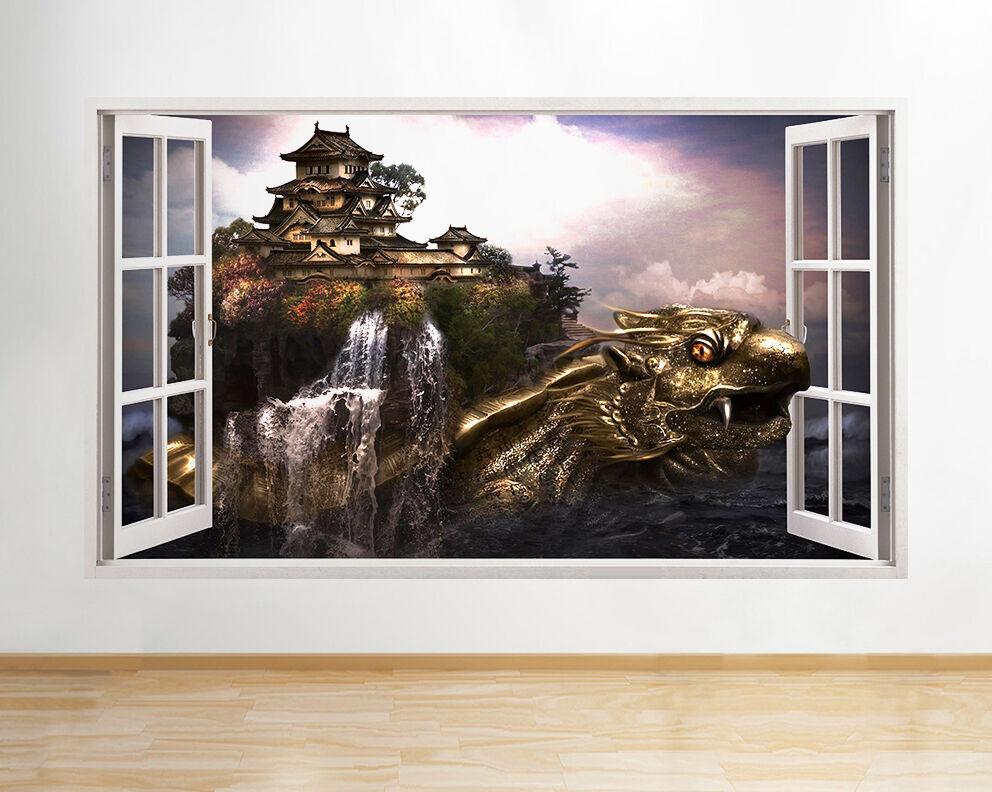 Q056w Dragon House Mare Oceano Finestra gold  adesivo da parete camera bambini