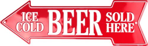 """Ice Cold Beer Sold Here Directional Metal Arrow Sign 20/"""" x 6/"""" ↔ Embossed Decor"""