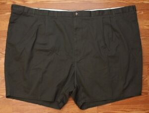 Mens-Big-And-Tall-Shorts-Size-70-Waist-8-Ins-Cotton-Casual-Black-Double-Pleated
