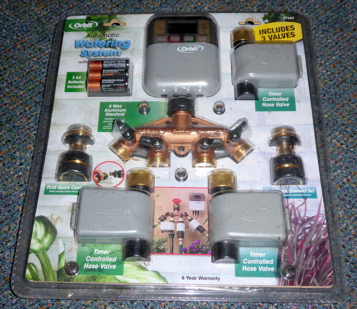 Orbit Automatic Yard Watering System Model 27665 NOS Sealed 4-Outlets & 3-Valves
