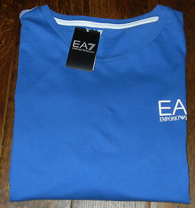Emporio-Armani-EA7-Small-Logo-Mens-Blue-T-Shirt-Size-UK-XXL