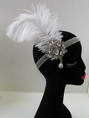 Rot /& Silber Straußen-feder Kopfbedeckung Große Gatsby Flapper Stirnband 1920s
