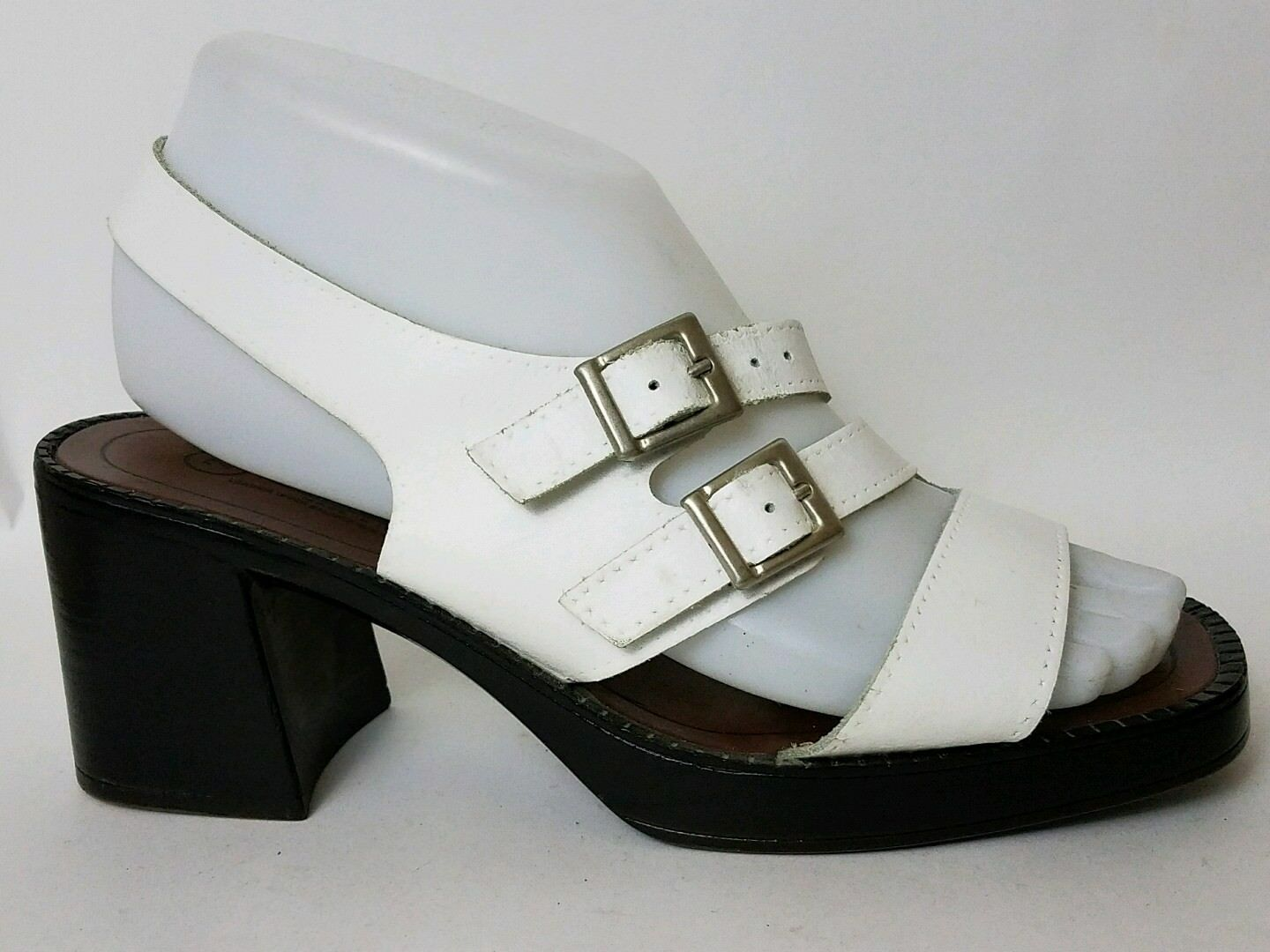 The Leather Collection White Sandals Slingback Shoe Womens Buckle 7 M Block Heel Buckle Womens cfa523