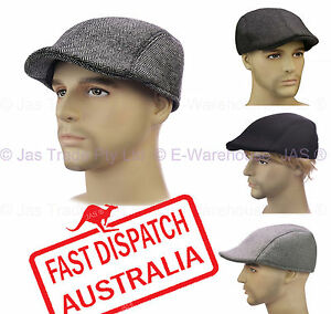MEN-BASEBALL-CABBIE-DRIVING-IVY-GOLF-FLAT-NEWSBOY-CAP-SUN-HAT-TWEED-FELT-L-XL