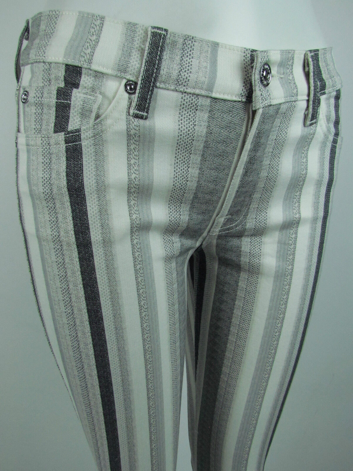 Seven 7 For All Mankind THE ANKLE SKINNY Jean Women SZ 26 IN WHITE GREY PRINT