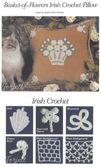 Basket-of-Flowers Irish Crochet Pillow crochet pattern