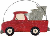 Glittered Red Truck With Christmas Tree Hanging Wall Decor Primitives By Kathy