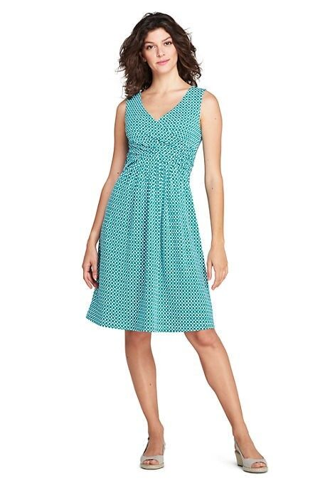 Lands End Women's Sleeveless Fit and Flare Dress Brilliant Aqua Geo New