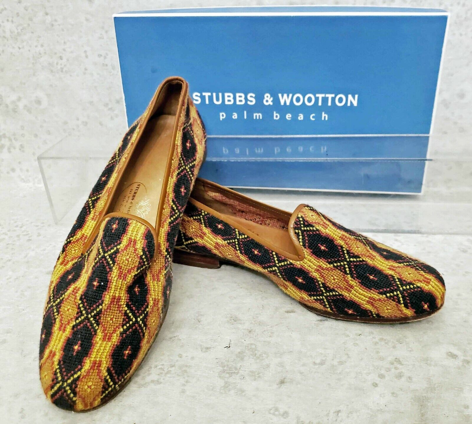 Stubbs and Wootton Needlepoint loafers smoking flats women's size 8  450