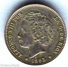 Alfonso XIII 1 Peseta 1893 Bucles @@ SIN CIRCULAR  @@