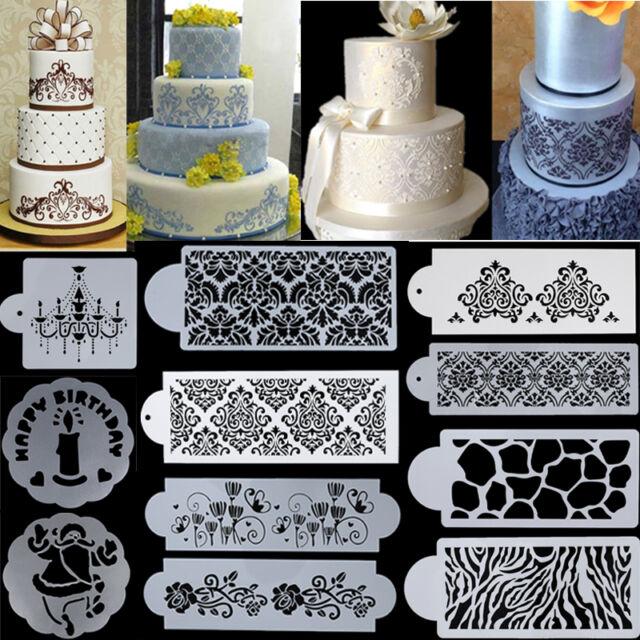 Flower Lace Cake Cookie Fondant Side Baking Stencil Wedding Decorating DIY Tool