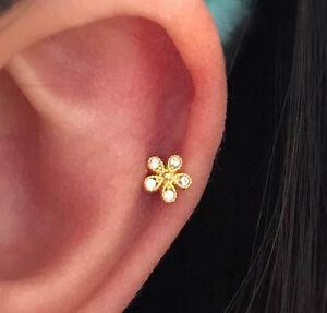 CZ Mini flower cartilage earring dainty barbell 4mm flower stud tragus earring