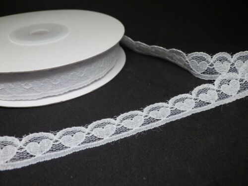 White Heart Lace 15mm in 2m or 5m cut lengths free postage