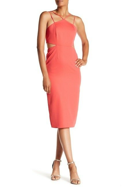 Laundry by Shelli Segal NWT Hibiscus ELEGANT Coral Calf Dress size 2 6 8 L@@K
