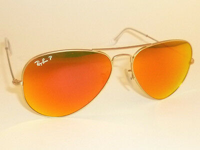 New RAY BAN Aviator Matte Gold Frame RB 3025 112/4D Polarized Orange Mirror 55mm