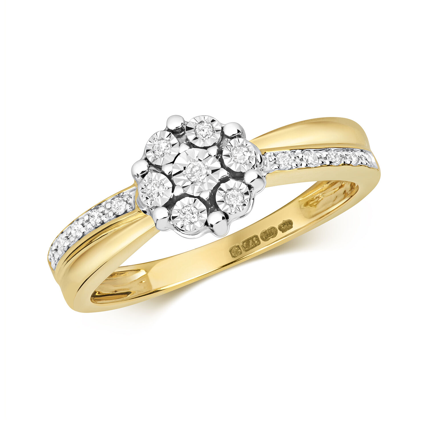 Diamond Ring Yellow gold Cluster Engagement large Sizes R - Z Certificate
