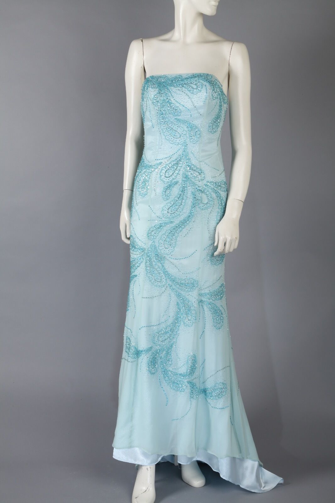 Vintage Sea bluee Prom Dress Strapless W Sequins