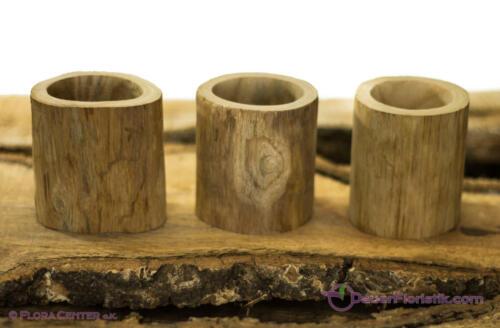 1 Teak-Holz-Gefäß 6x8cm naturbelassen beige hellbraun zylinderförmig Teak Topf